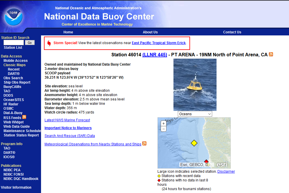 Buoy Webpage reporting Marine Forecasts of the coast of Albion
